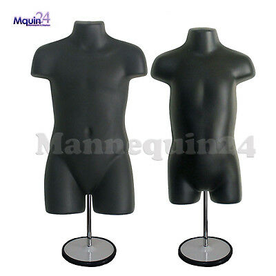 Child Toddler Torso Mannequins Set - Black 2 Stands 2 Hangers Kids Forms