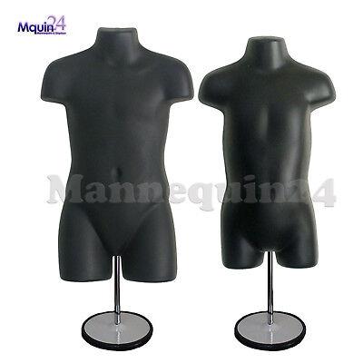 Child Toddler Torso Mannequins Set - Black 2 Stands 2 Hangers Kids Forms