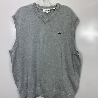 Lacoste Sport Mens 4X V Neck Pull Over Grey Cotton Vest (N30)