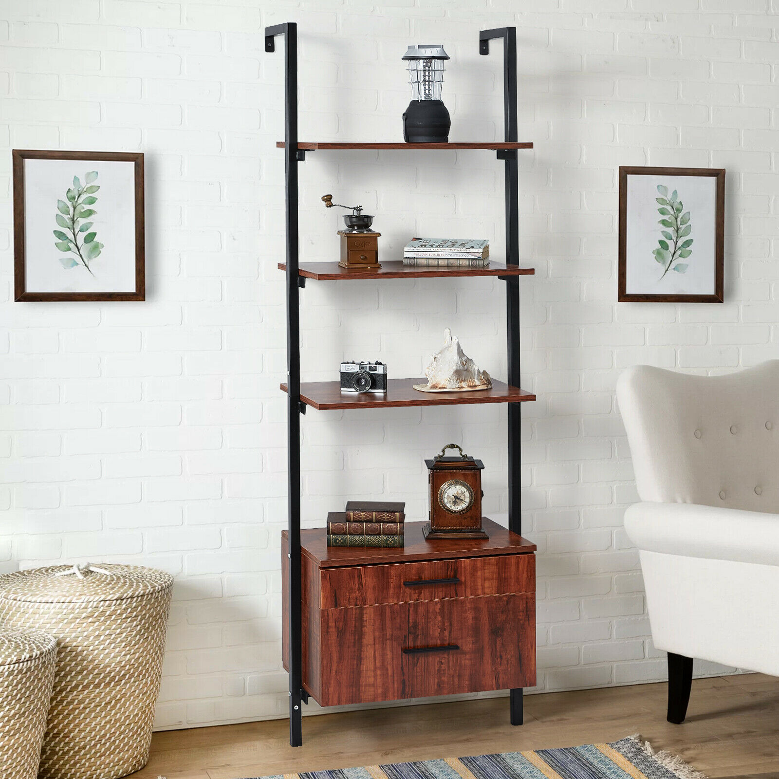 3-Tier Ladder Bookshelf Wall Mounted Storage Shelves Wood Bookcase w/ Drawers Bookcases & Shelving
