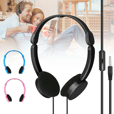 foldable over wired ear headphones headband kids