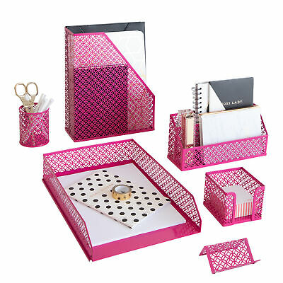 Blu Monaco 6 Piece Hot Pink Desk Organizer Set