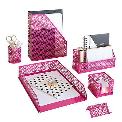 Blu Monaco 6 Piece Hot Pink Desk Organizer Set