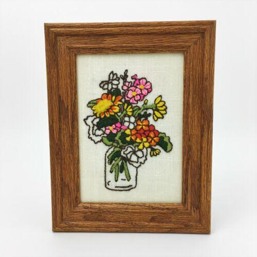 Vintage Crewel Embroidery Finished Framed Flower Vase Floral Sunset Design BOHO
