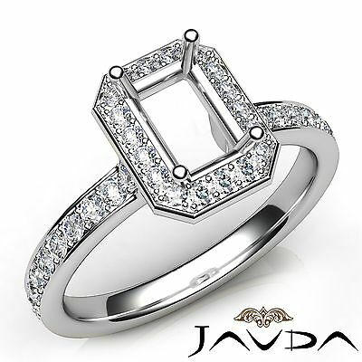 Emerald Semi Mount Ring - 0.45Ct Diamond Engagement Halo Emerald Semi Mount 18k White Gold Classic Ring
