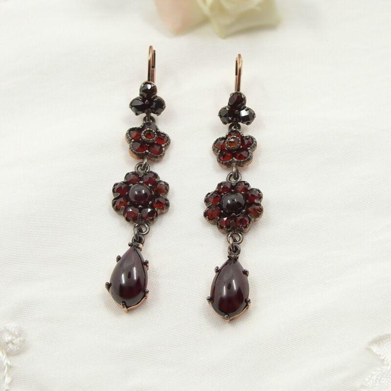 Lovely Vintage cascade garnet earrings Victorian style Silver ГРАНАТ 200603b+P3