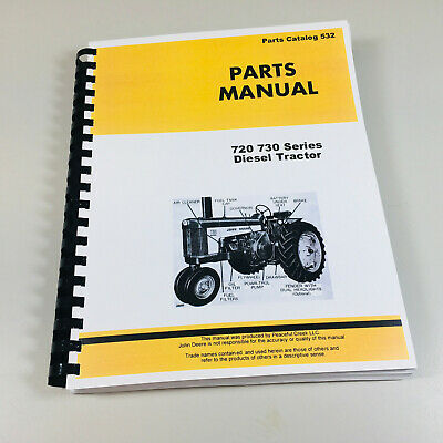 Parts Manual For John Deere 720 730 Diesel Tractor Catalog Assembly Numbers