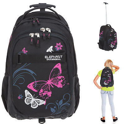 Trolley Elephant Hero Signature Schultrolley Ranzen 12680 Butterfly Blk Pink