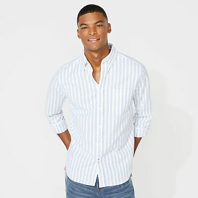 Nautica Mens Classic Fit Long Sleeve Striped Oxford Shirt