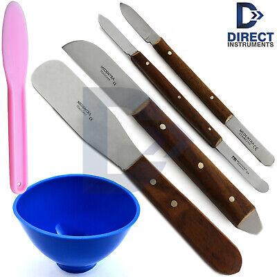 6 Pieces Dental Waxing Knife Plaster Spatula Plastic Mixing Bowl Modelling Tools