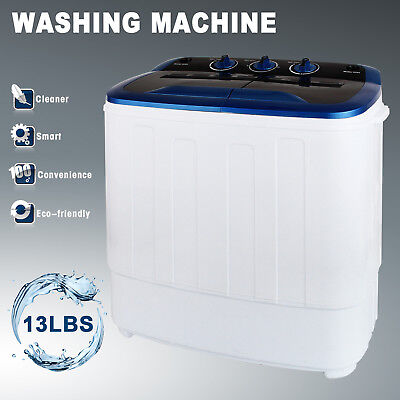13LBS Carry-on Washing Machine Mini Compact Twin Tub Laundry Washer Spin Dryer