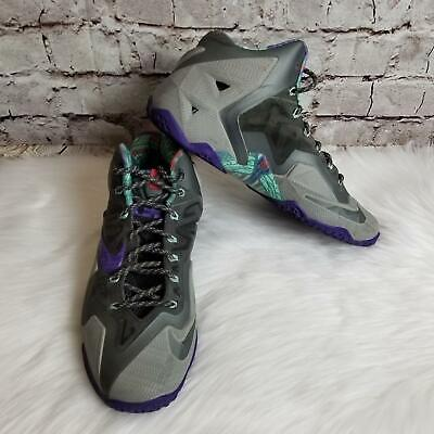 Nike Men's Lebron XI 11 Warrior Basketball Sneakers Size 10M Mine Grey/Purple (Grey Warrior)