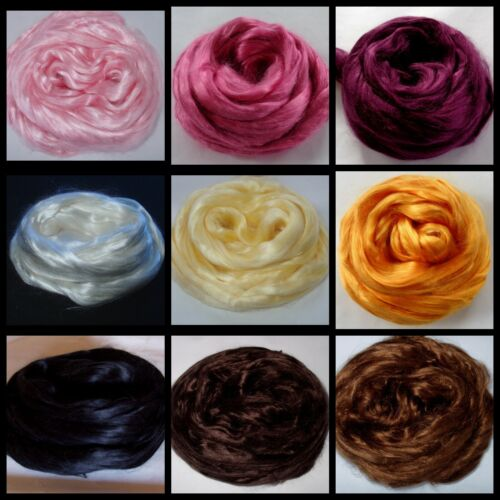 Choose from 15 colors mulberry or tussah silk top felting fiber hair soap 0.5oz