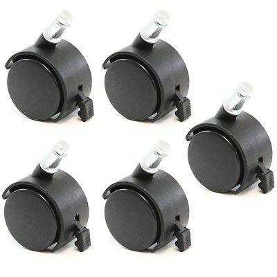 5 Office Chair Stem Twin Wheel 2 Caster Replacement 716 Grip Ring Style Set