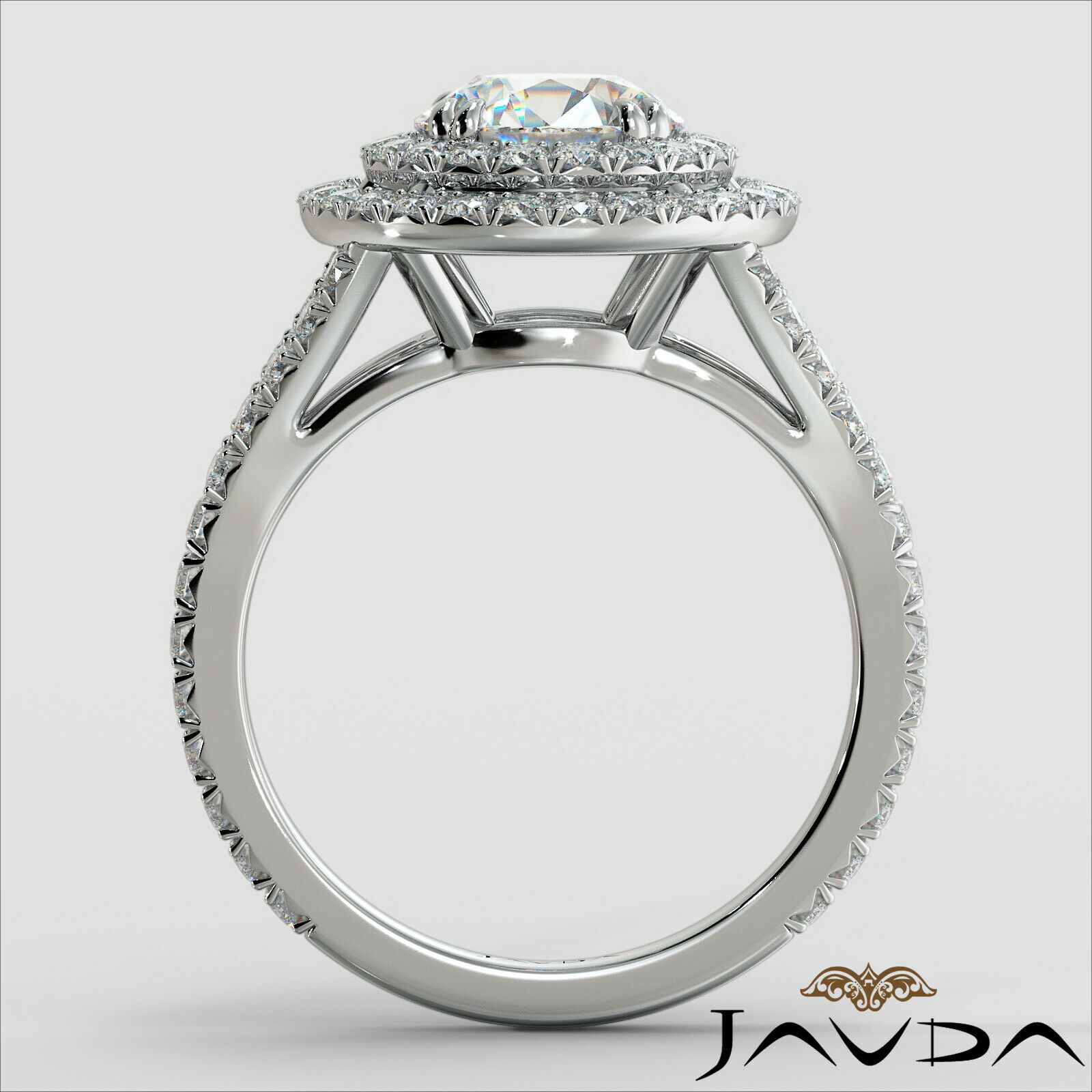 2.05ct French Pave Gala Halo Round Diamond Engagement Ring GIA F-VVS1 White Gold 3