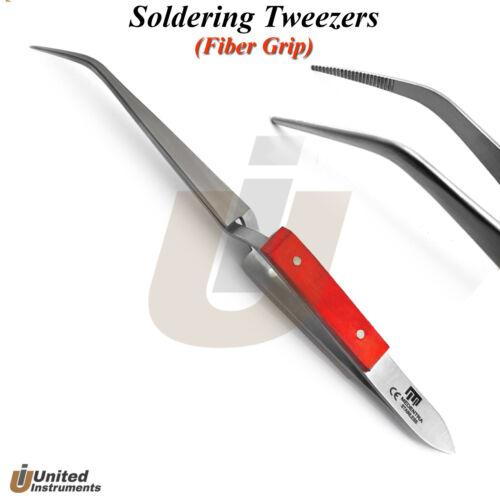 Cross Lock Soldering Tweezers Fiber Grip Jewelry Craft Beading Electronic Repair