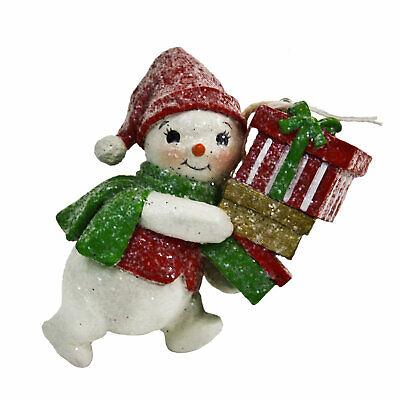 Bethany Lowe Glitter Snowman Tree Ornament Retro Vintage Style Christmas Decor