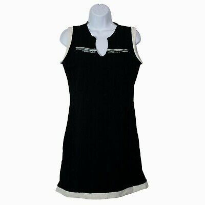 Womens Versace Sport Black V-Neck Black Sleeveless Dress Size M Medium