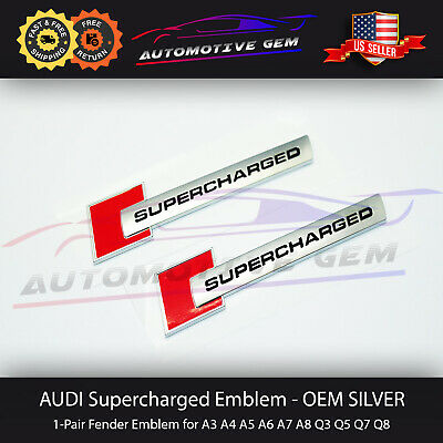 Audi Supercharged Emblem Side Fender Badge Logo Chrome Red Sticker Pair OEM