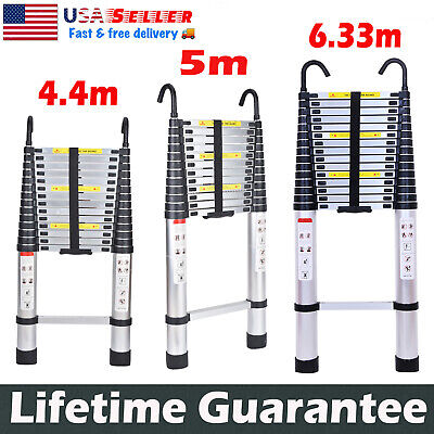Aluminum Telescopic Extension Ladder Folding Step Multi-use Non-slip With Hook
