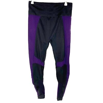 Demi Lovato Fabletics Seamless Rib Capri Leggings-Black/Purple (Women's X-Large)