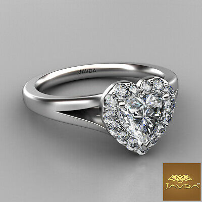 Halo French Pave Set Heart Diamond Engagement Split Shank Ring GIA G VS1 0.70 Ct 1