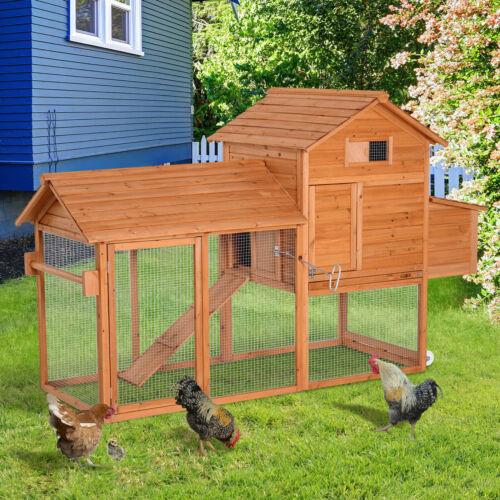 Deluxe Backyard Wood Poultry Chicken Coop Hen House Hutch Nesting Box w/Wheels