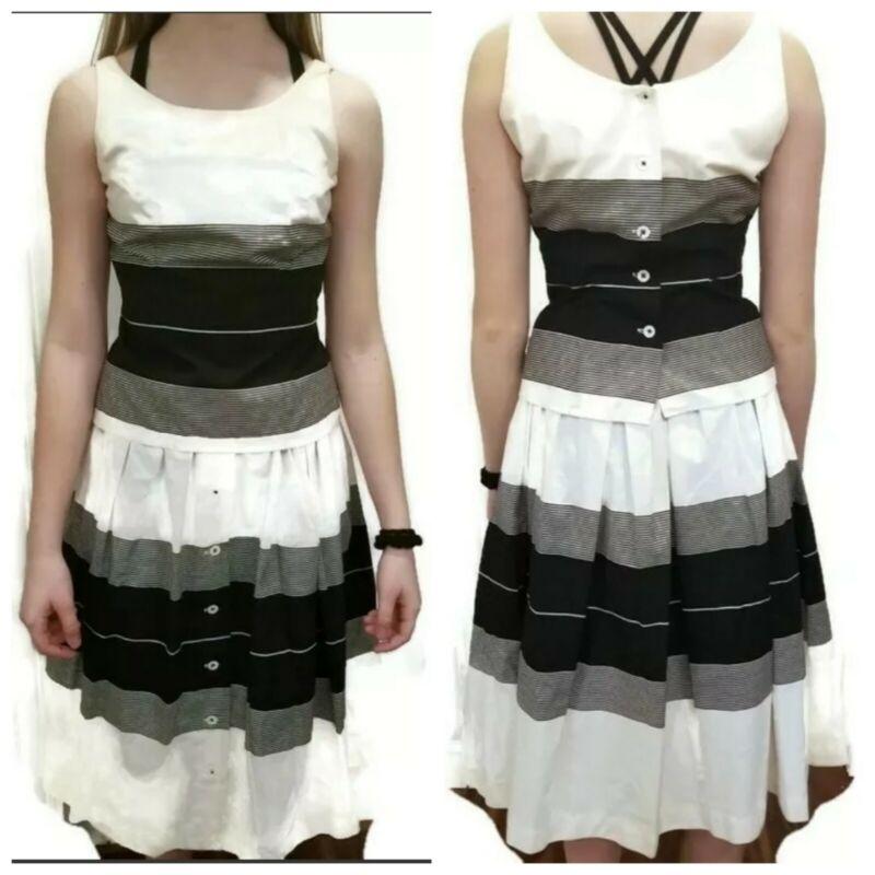 Vtg 50s 60s 2 pc Skirt Set Sleeveless Handmade sz 2 Midi White Black Button back