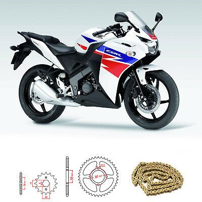 Honda CBR 125 R B-D 2011-2016 Heavy Duty Chain and Sprocket Kit GOLD CBR125R