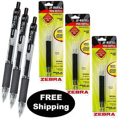Zebra Sarasa 0.7mm Black Gel Ink Medium Pt. 3 Pens With 3 Packs Of Refills