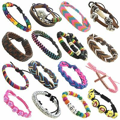 Kids Adults Leather Beaded Colourful Adjustable Friendship Bracelets 120 styles - Adult Friendship Bracelets
