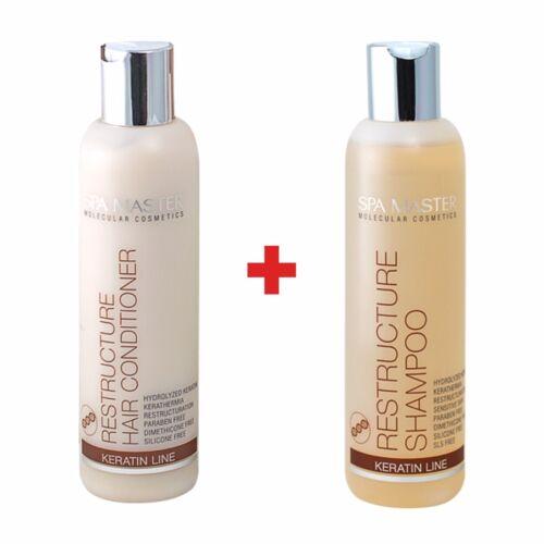 Keratin Haarpflege Set Shampoo Spülung Kur trockenes Haar 0% Sulfat Silikone SLS