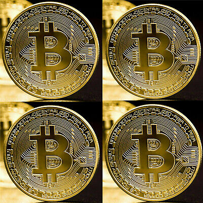 4Pcs Gold Bitcoin Coins Commemorative 2020 New Collectors Gold Plated Bit Coin
