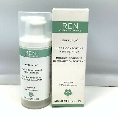 Ren Clean Skincare Evercalm Ultra Comforting Rescue Mask 50ml/1.7oz. New In Box Clear Mask Box