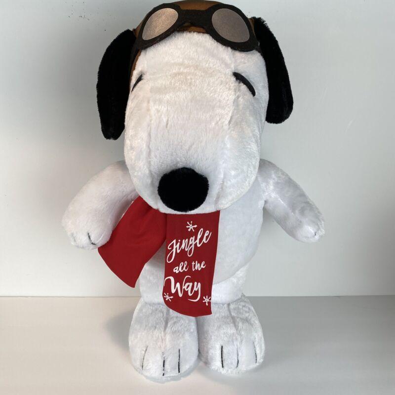 "Snoopy Peanuts Holiday Greeter Plush Aviator Character 18"""