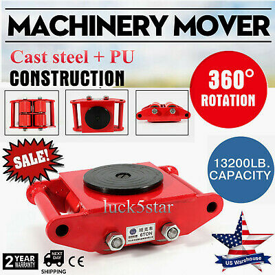 Heavy Duty Machinery Mover Dolly Skate Roller Machine 6t 13200lb Rotation Cap Us