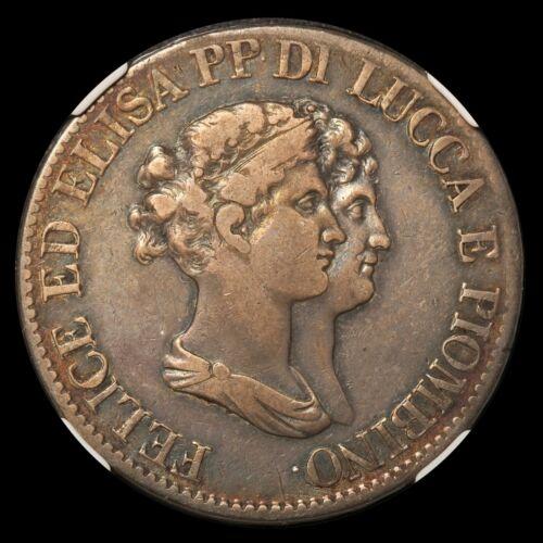 1807 Italy Lucca & Piombino 5 Franchi Silver Coin - NGC VF 25 - KM# 24.3