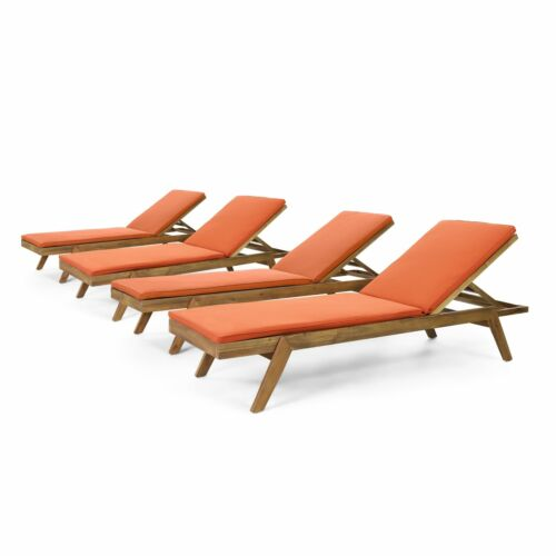 Larimore Outdoor Acacia Wood Chaise Lounge with Water Resistant Cushions, Set of Home & Garden