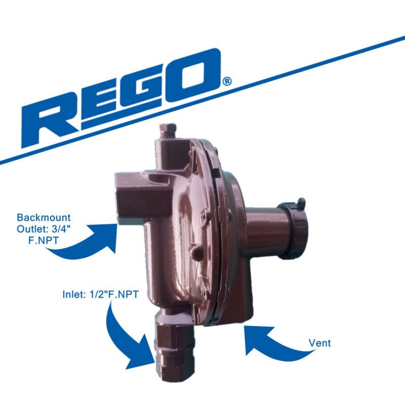 "Rego 2nd Stage Low Pressure Backmount Propane Regulator  LV4403B46R  1/2"" x 3/4"""