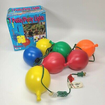 7 Vintage Blow Mold Plastic Balloons Patio RV Camping Party Lights Set 1988