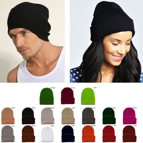 c182fa66a9509 Mens Womens Plain Beanie Hat Knit Ski Cap Warm Solid Color Winter Cuff  Thermal
