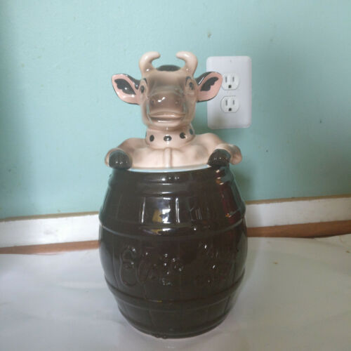 Bordens Elsie The Cow Dark Brown Barrel Handle With Care Cookie Jar by Jonal