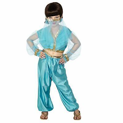 Mädchen Blau Arabische Prinzessin Kostüm Jasmin Kostüm Buchwoche Tag - Blau Prinzessin Jasmin Kostüm