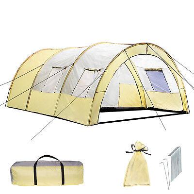 XXL Tenda Campeggio 4 - 6 Persone Posti Tendone Camping Famiglia Beige Grigio