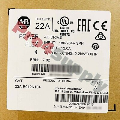20182019 Us Stock Allen-bradley Powerflex 4 2.2 Kw 3 Hp Ac Drive 22a-b012n104