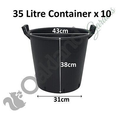 10 x 35 Litre Plant Tree Pot With Handles Heavy Duty 35L Lt Big Large Plastic