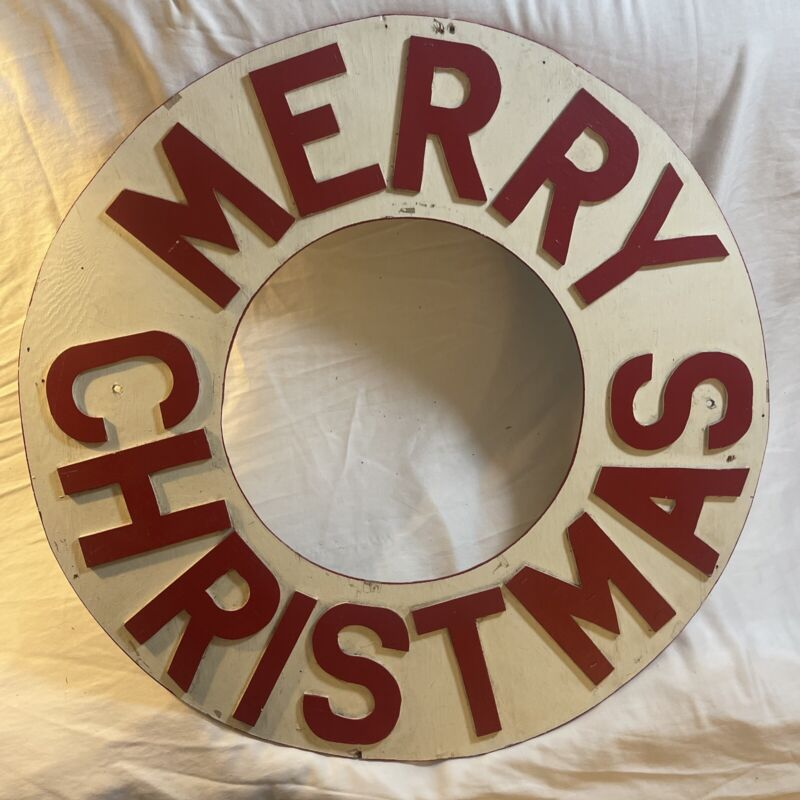 LARGE Vintage Folk Art Painted MERRY CHRISTMAS Wooden Sign holiday xmas