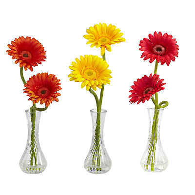 Set of 3 Artificial Gerber Daisy Flower Arrangements in Faux Water Glass Vases