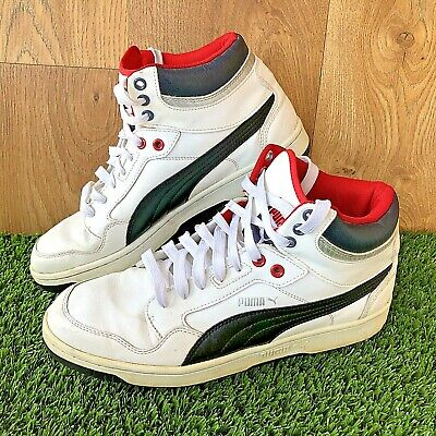 Mens Puma Basketball White hi-top Leather Trainers UK SIZE 10 Retro Vintage #