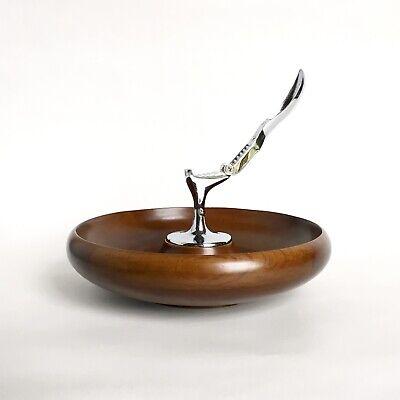 Nut Bowl Danish Mid century Hard Wood Hellerware Chrome Nut Cracker CLEAN